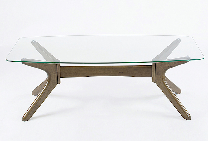 Spencer Glass Top Wood Base Coffee Table Home Ingredients