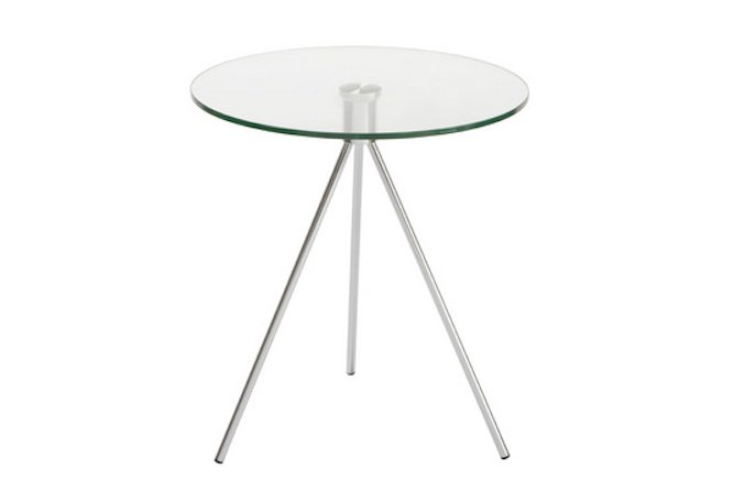 Max Chrome + Glass Round Side Table Home Ingredients