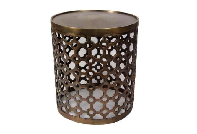 Metallo Cubic Antique Brass Side Table Home Ingredients