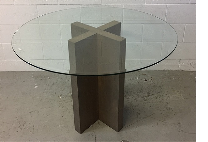 X Base Wood and Glass Dining Table Home Ingredients