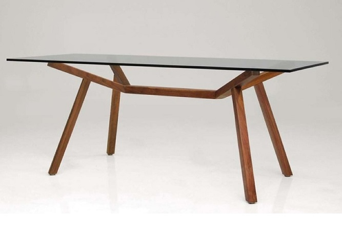 Trestle Glass and Walnut Dining Table Home Ingredients