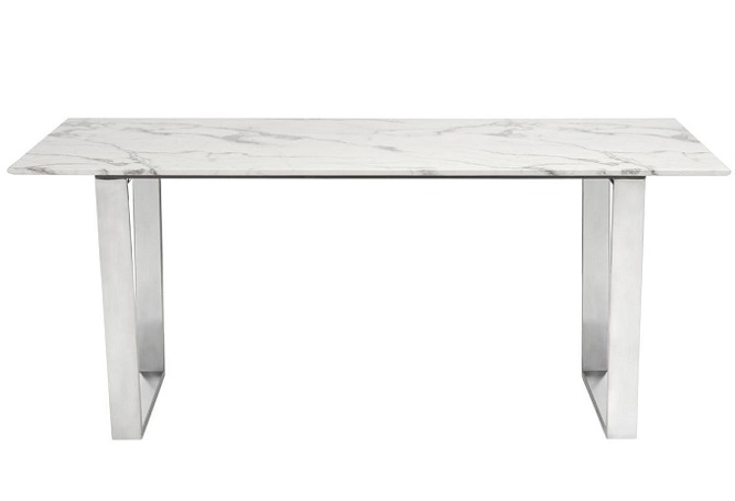 Atlas Marble and Stainless Steel Dining Table Home Ingredients