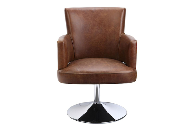 Francis Soft Brown Swivel Occasional Chair Home Ingredients