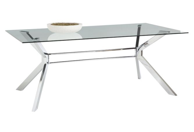 Tista Glass + Chrome Dining Table Home Ingredients