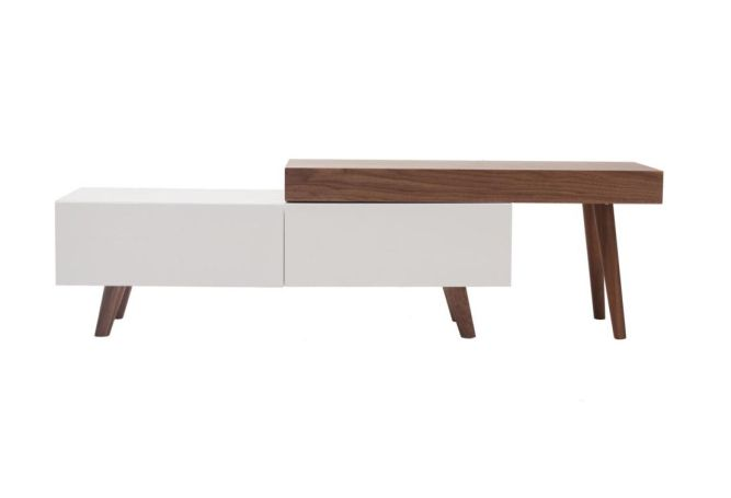 Rico Wood + White Lacquer TV Stand Home Ingredients