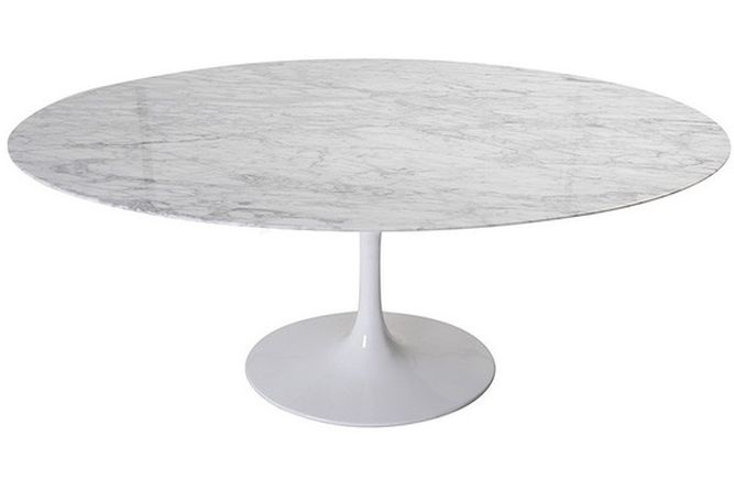 Flute Marble Oval Dining Table Home Ingredients