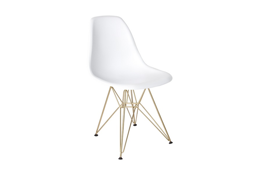 Cairo White w/ Gold Legs Dining Chair Home Ingredients