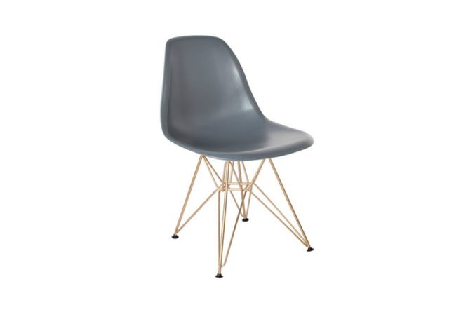 Cairo Dark Grey w Gold Legs Dining Chair Home Ingredients