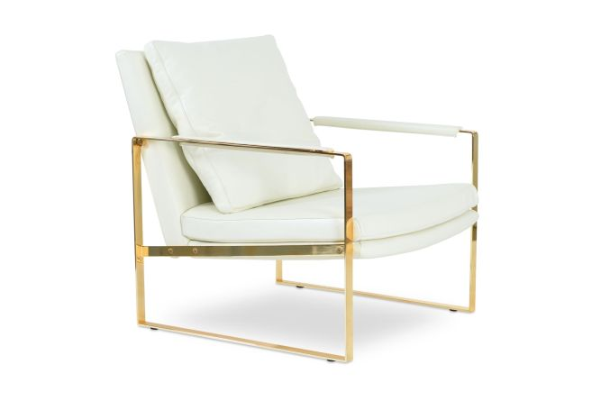 Zara White and Gold Occasional Chair Home Ingredients