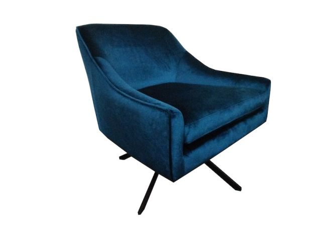 Ethan Swivel Peacock Blue Chair Home Ingredients