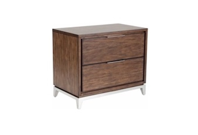 Miriam Smoked Brown Steel Leg Night Stand Home Ingredients