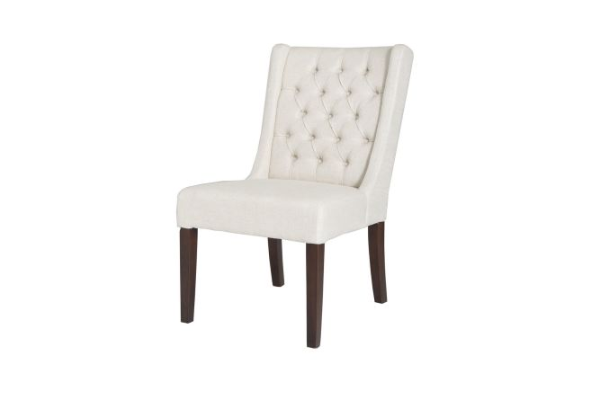 Lauren High Back Tufted White Dining Chair Home Ingredients