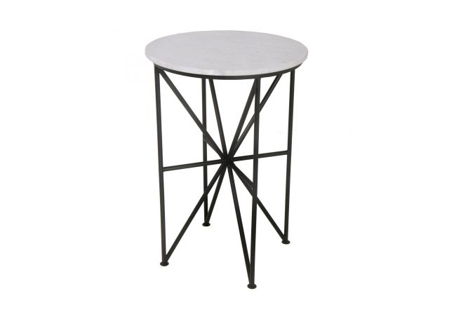 Quadrant Marble + Iron Side Table Home Ingredients