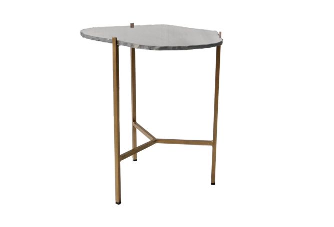 Earth Wind Fire Grey Slate w Gold Side Table Home Ingredients