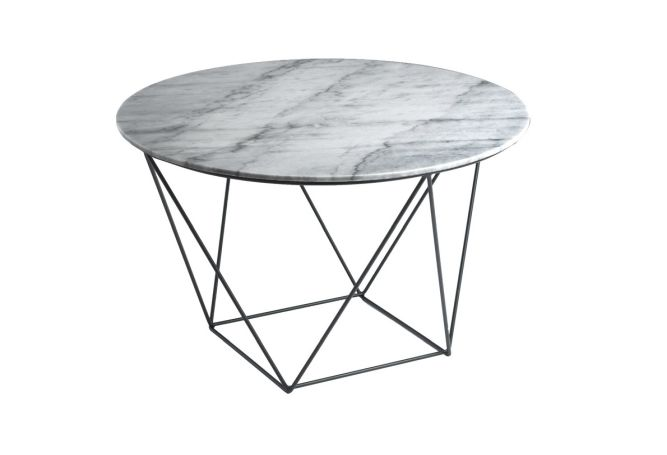 Valencia Grey Marble Black Base Side Table Home Ingredients