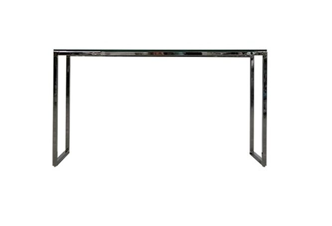 Black Glass Chrome Frame Console Home Ingredients Furniture Rentals F1253