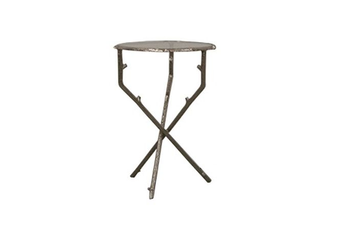 Silver Branch Glass Top Tripod Side Table Home Ingredients Furniture Rentals F564