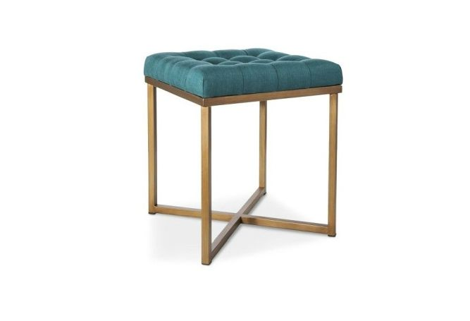 Teal Tufted w/ Gold Legs Stool - Home Ingredients