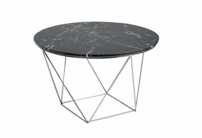 Valencia Black Top Silver Base Side Table Home Ingredients Furniture Rentals