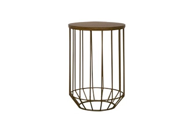 Wood Top + Gold Wire Base Side Table Home Ingredients Furniture Rentals F616