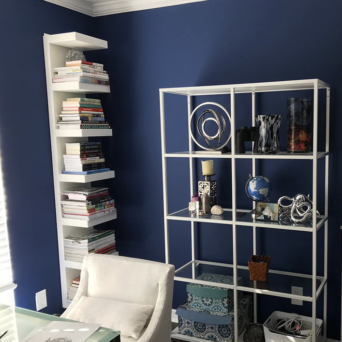 This office went from beige and boring to vivid blue and inspiring!