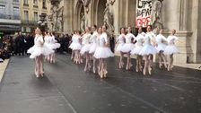 Paris Opera's Ballerinas Dance In Protest Against Pension Reform In France