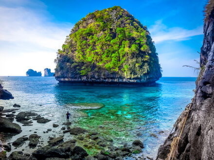 Tropical landscape in the Maya Bay, Phi Phi island, Thailand
