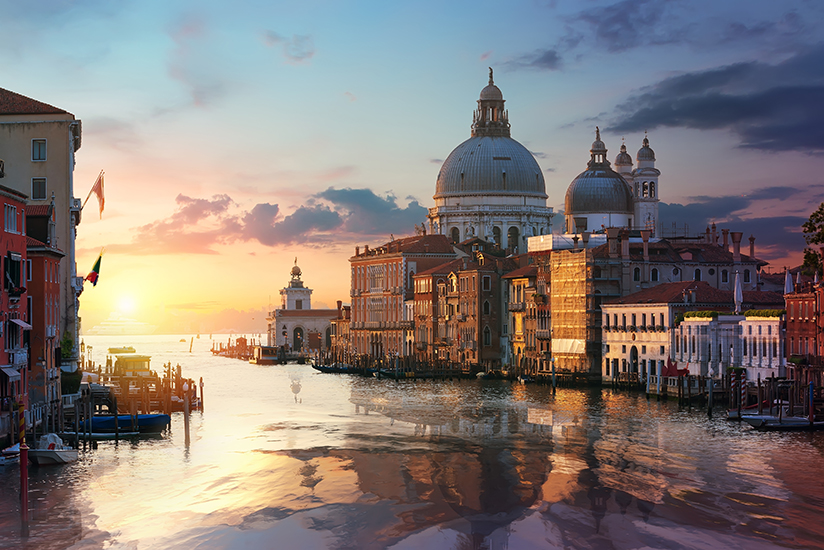 Famous venetian italy basilica on Grand Canal at sunrise