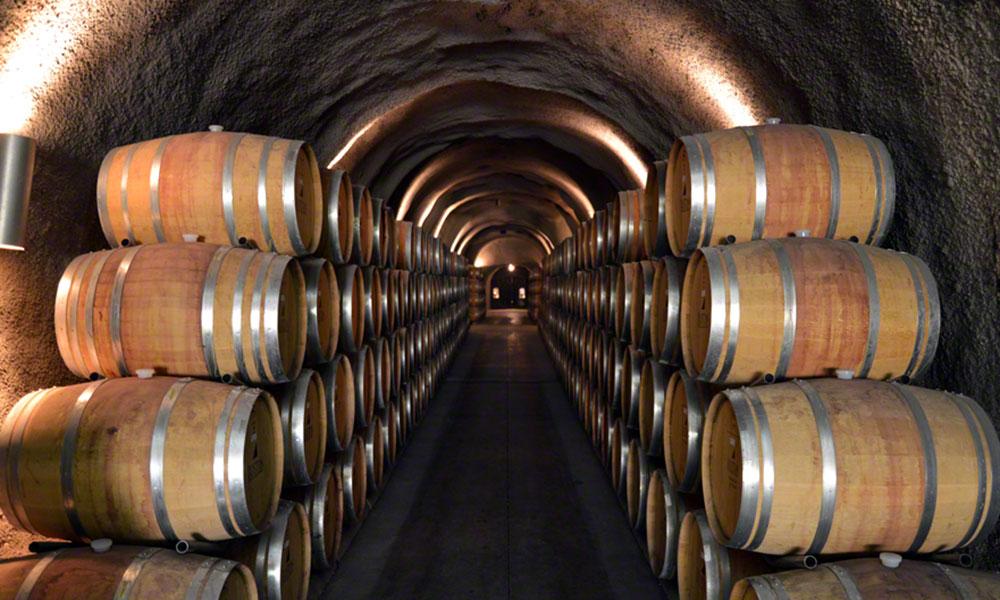 Picture of wine storage area underground, full of wine barrels