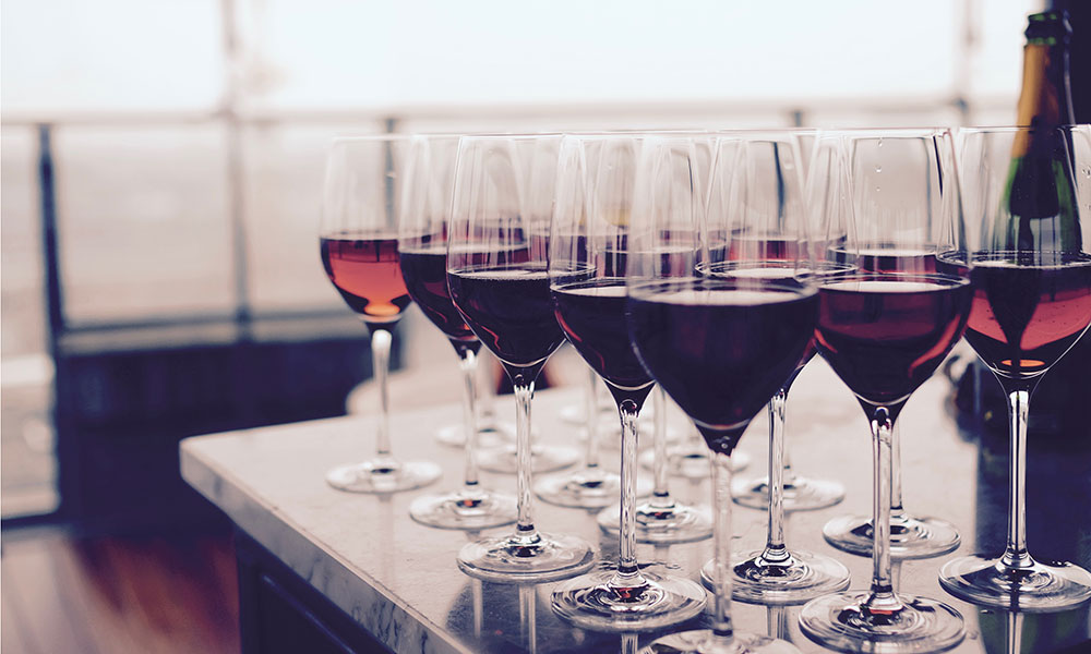 Picture of tasting glasses with red wine