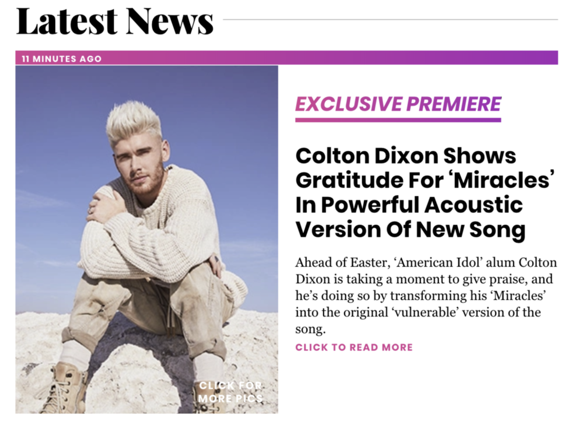 """Music News: Hollywood Life Premieres Colton Dixon's Piano Video of Hit Single """"Miracles"""""""