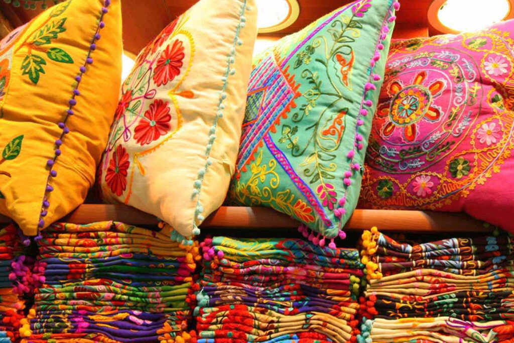 photo of colorful pillows in Winter Sun store