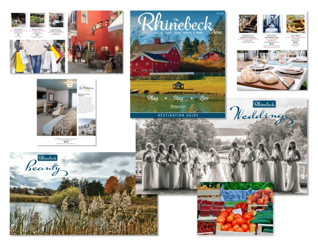 photo montage of pages from the 2020 Rhinebeck Destination Guide