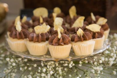Wedding cupcakes with chocolate frosting from Santa Cruz, CA