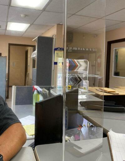 plexiglass desk barrier