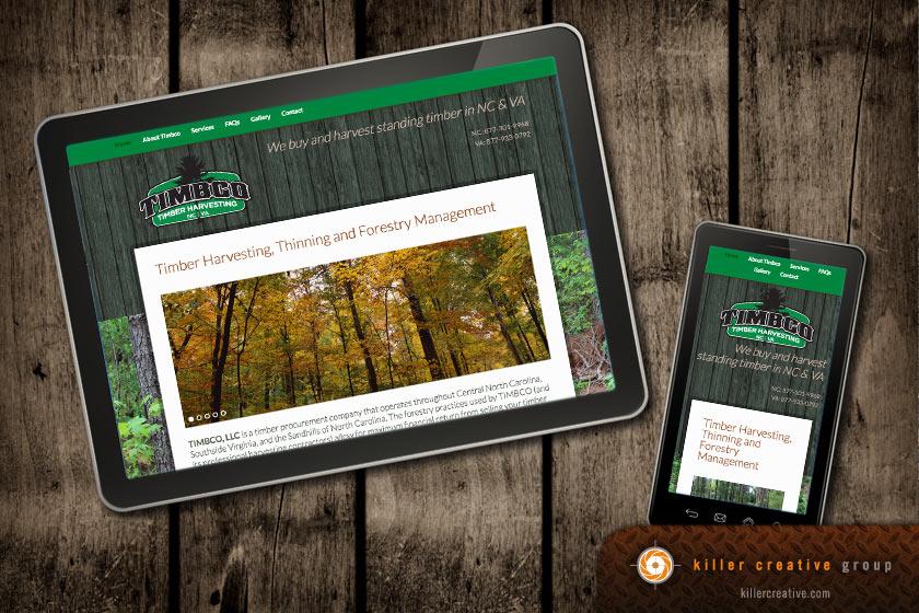 Timbco responsive website design raleigh morrisville nc