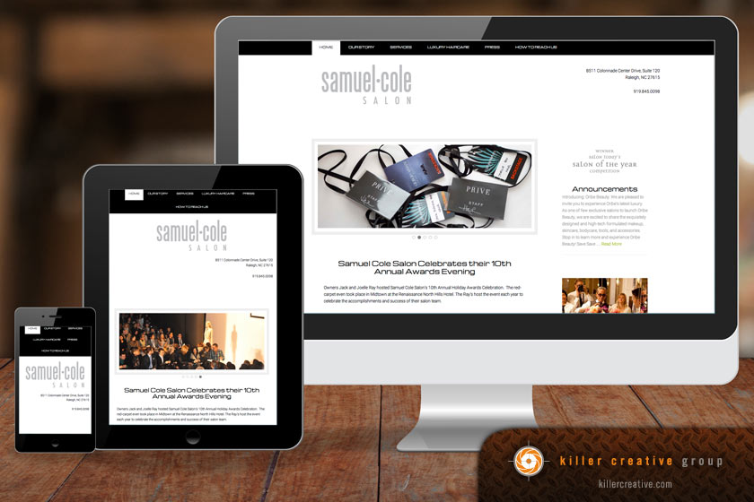 Samuel Cole Salon website design raleigh nc