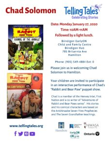 """A flyer of Author Chad Solomon showing his book """"Rabbit & Bear Paws"""""""