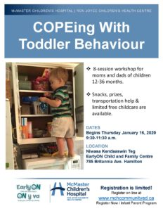 Flyer shows an image of a toddler standing on top of a microwave rummaging inside of a cupboard