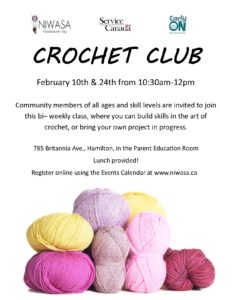 """A flyer image of Niwasa's """"Crochet Club"""" that includes information of location and time of the program. This flyer includes an image of a pile of a variety of colored yarn."""
