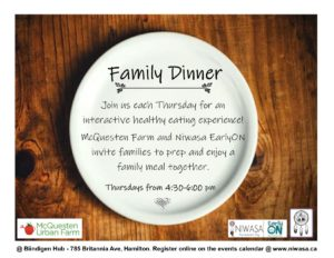 "A picture of a wood table with a large white glass dinner plate. This image includes information of a cooking class called ""Family Dinner"""