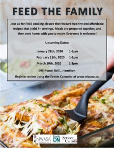 """A flyer of the """"Feed the Family"""" program. It includes an image of a clear casserole dish and a black spatula lifting out a cooked dinner item."""