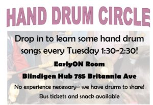 a flyer image of a hand drum circle program. Includes a backround image if indigenous people drumming.