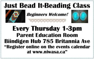"a flyer of indigenous beaded items that include information on Niwasa's ""Just Bead It"" program"