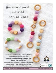 A flyer image of homemade teething rings.