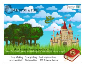 A flyer that has storry book images of a castle and dragon flying.
