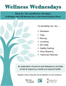 A flyer of a wellness class. The flyer contains a blue tree.