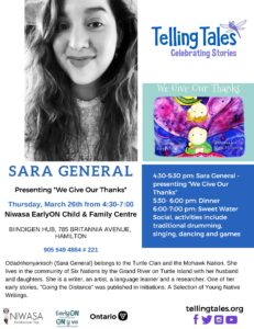 A Telling Tales flyer that features a image of Sara General