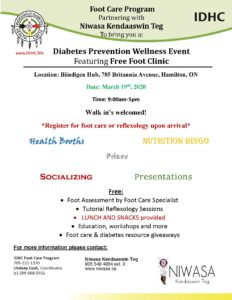 A information Flyer for Niwasa and Indigenous Diabetes Health Circle upcoming Diabetes Prevention Wellness Event