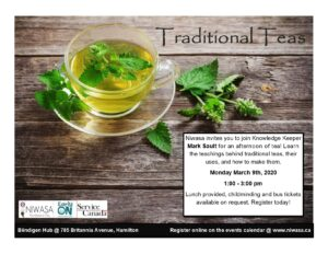 """A flyer that contains program information of the program """"Traditional Teas"""" this flyer shows an image of a glass tea cup filled with a tea and a few herbs."""